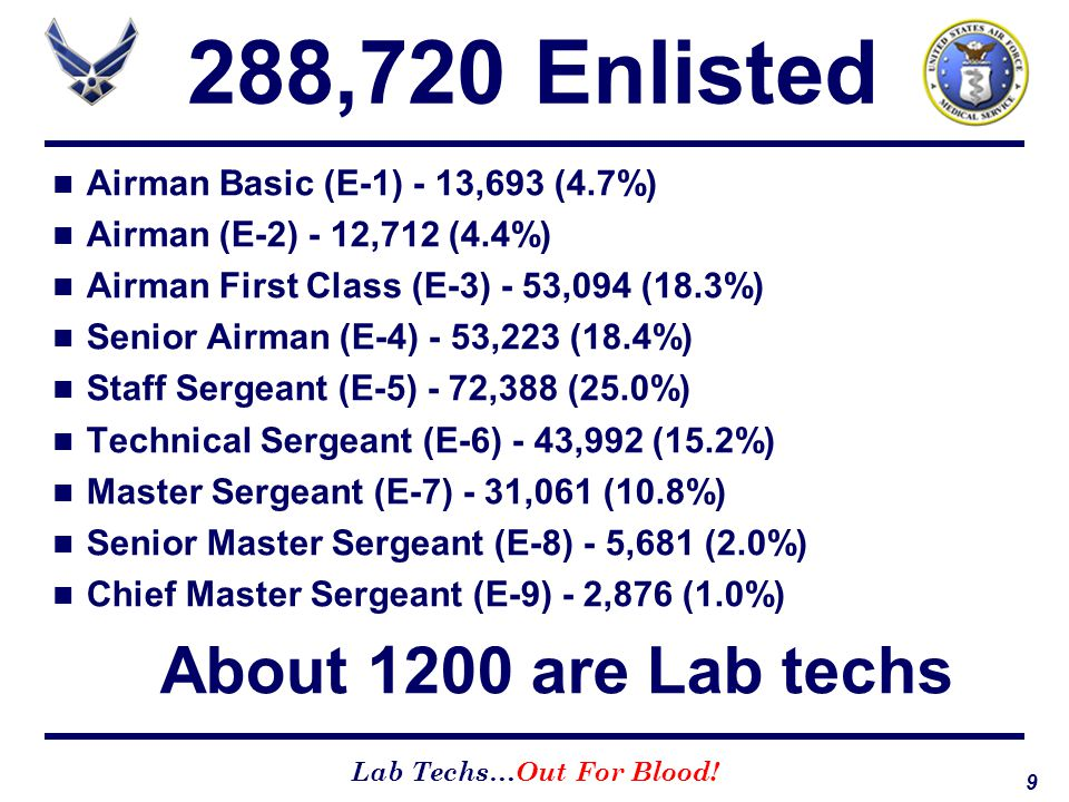 288,720 Enlisted Airman Basic (E-1) - 13,693 (4.7%)