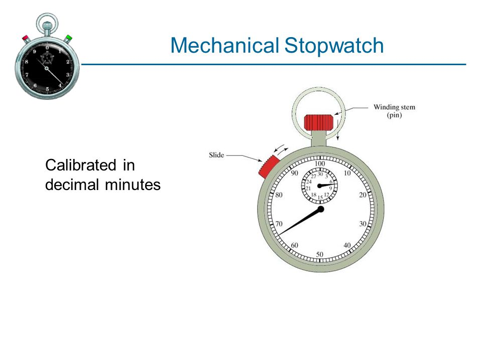 Mechanical Stopwatch Calibrated in decimal minutes
