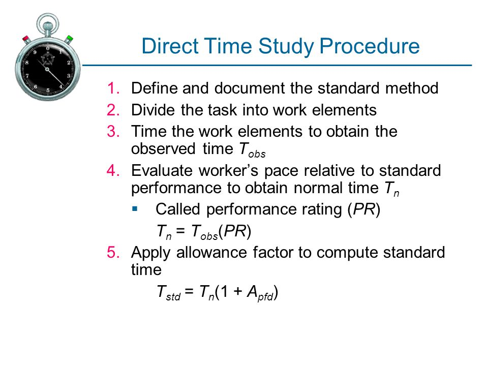 Direct Time Study Procedure