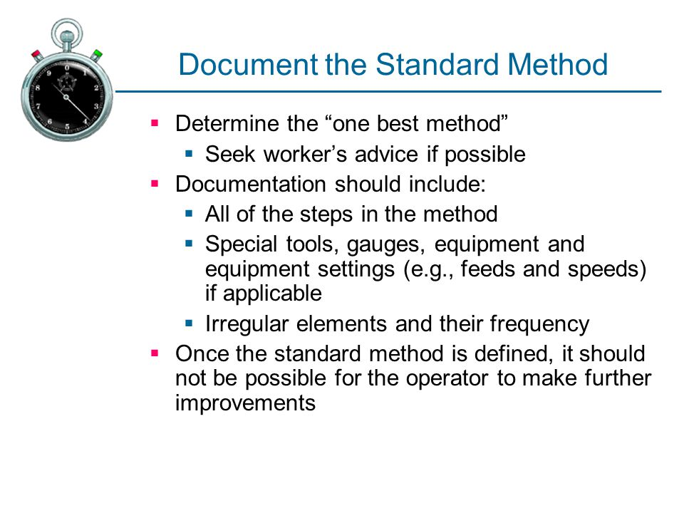 Document the Standard Method