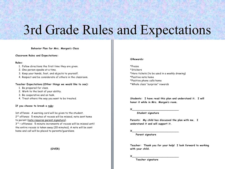 3rd Grade Rules and Expectations