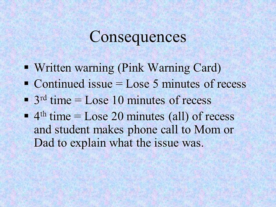 Consequences Written warning (Pink Warning Card)