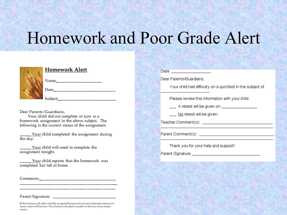 Homework and Poor Grade Alert