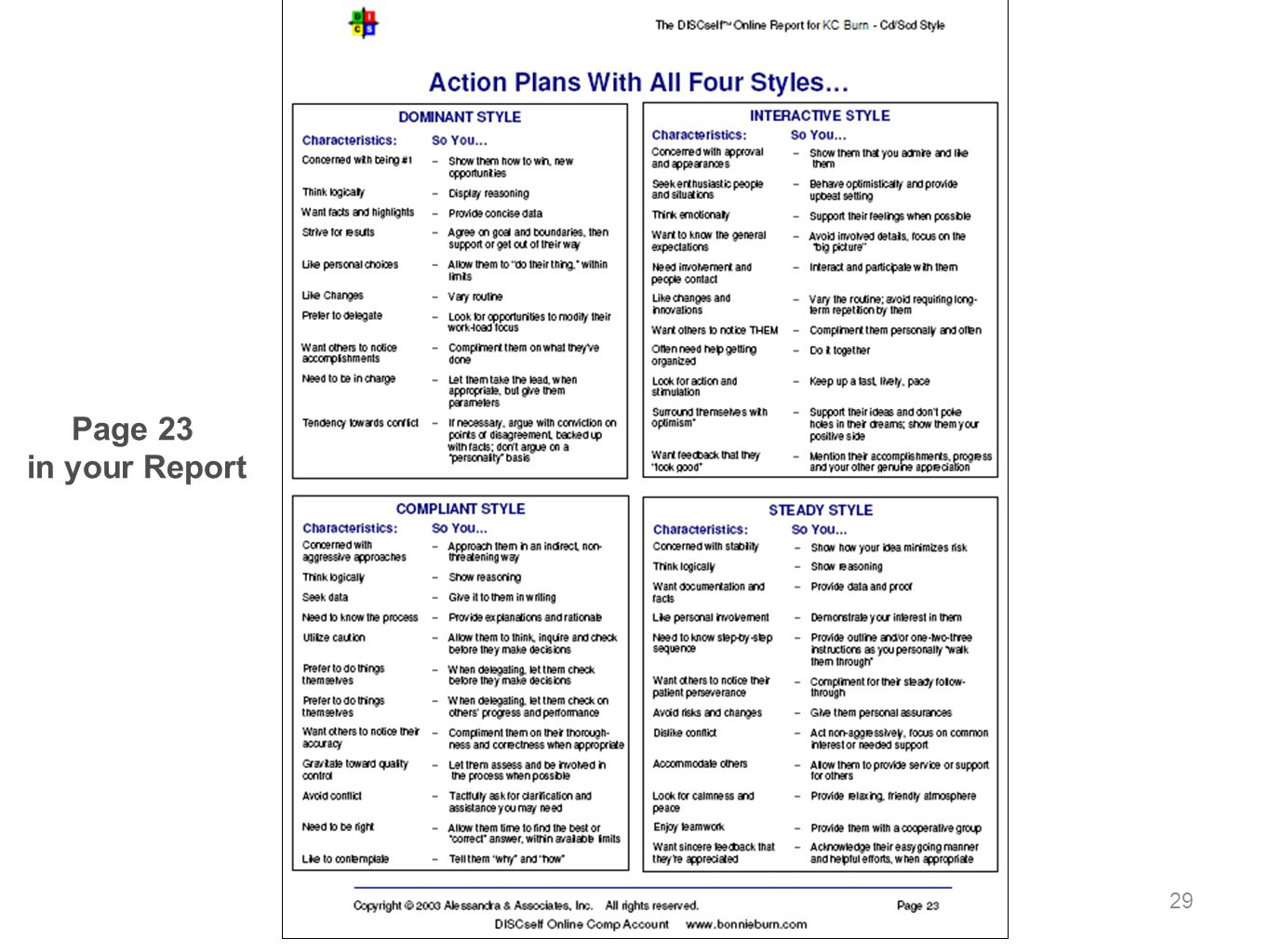 Page 23 in your Report Action Plans With All Four Styles
