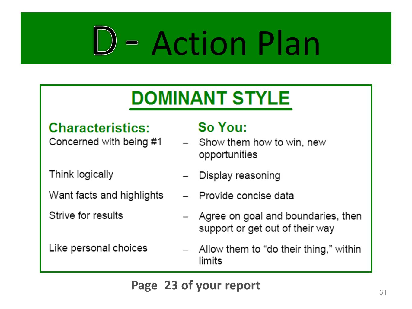 D - Action Plan Page 23 of your report Optional slides.