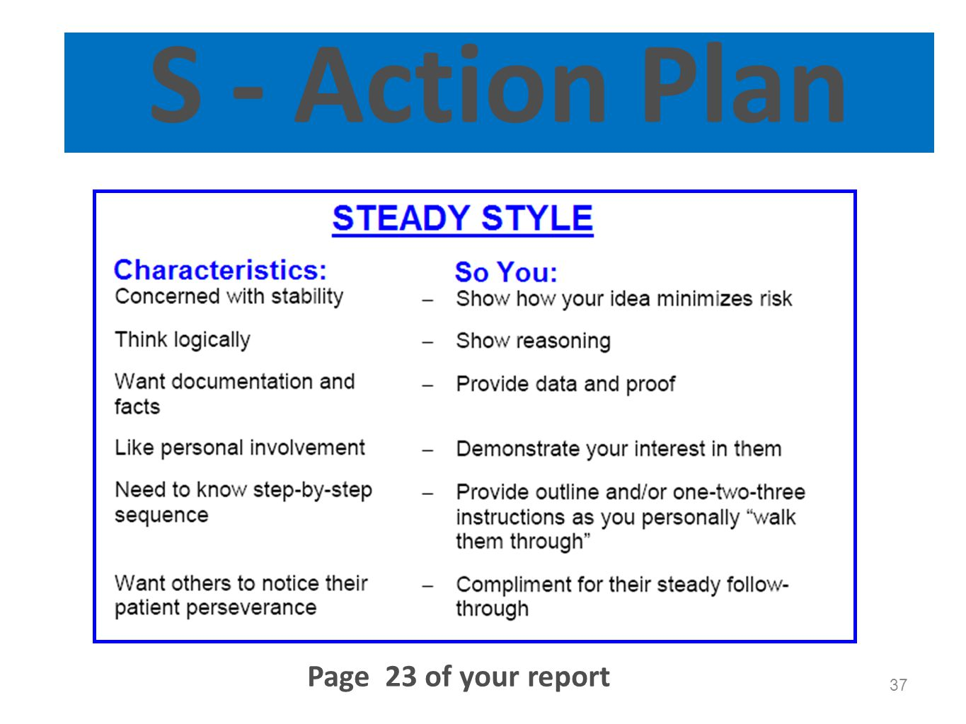 S - Action Plan Optional slide. Page 23 of your report Page 23