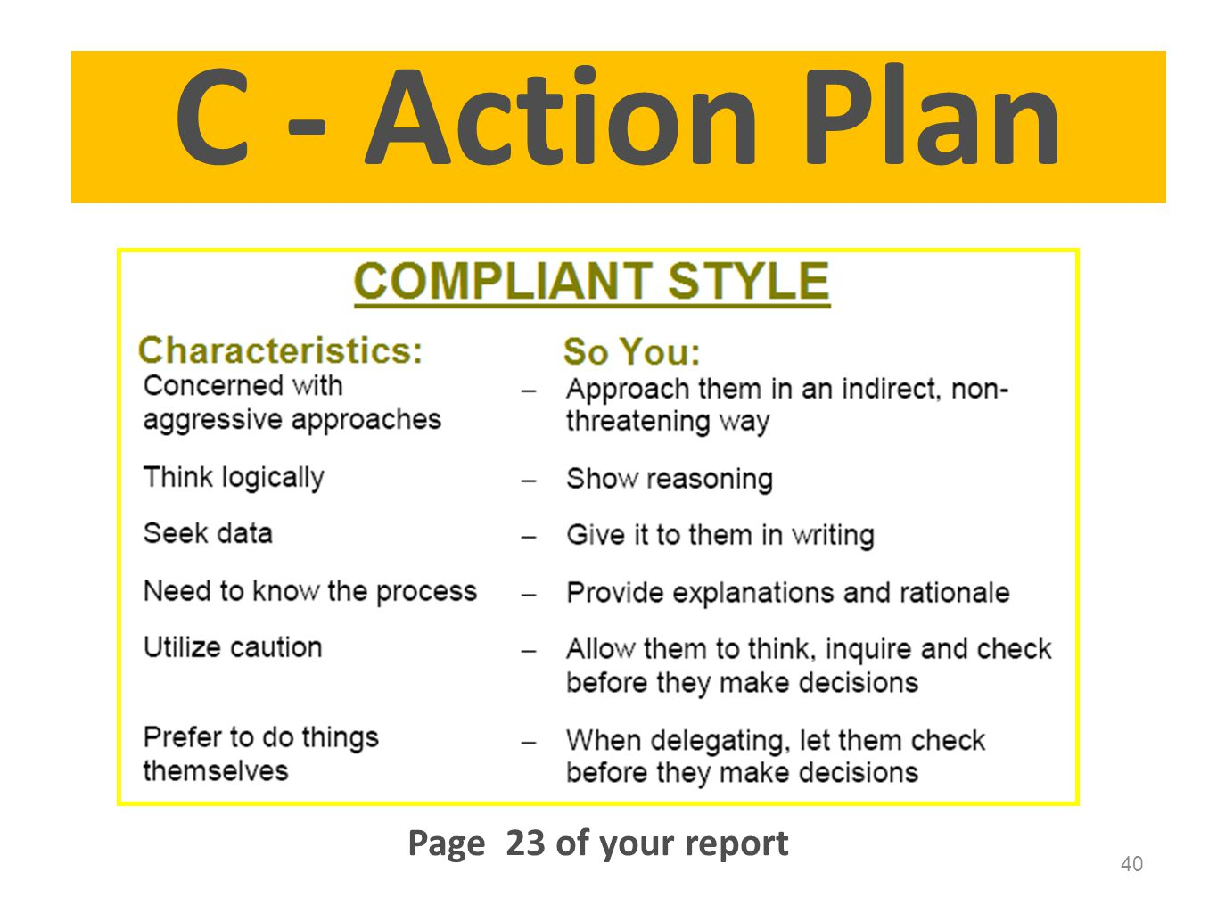 C - Action Plan Page 23 of your report Page 23