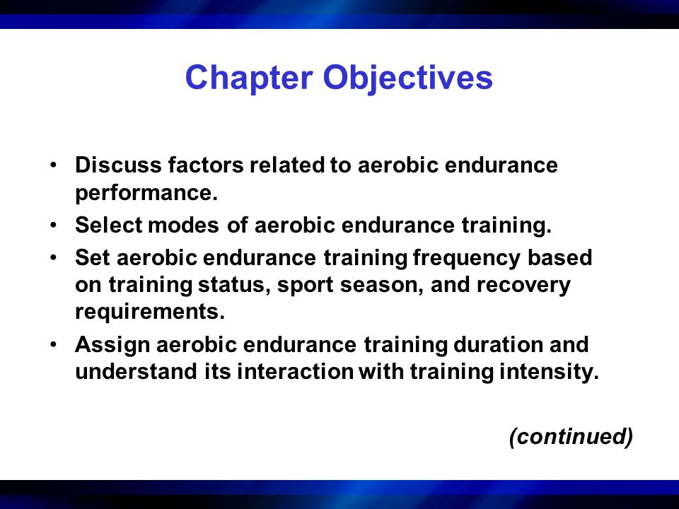 Chapter Objectives Discuss factors related to aerobic endurance performance. Select modes of aerobic endurance training.