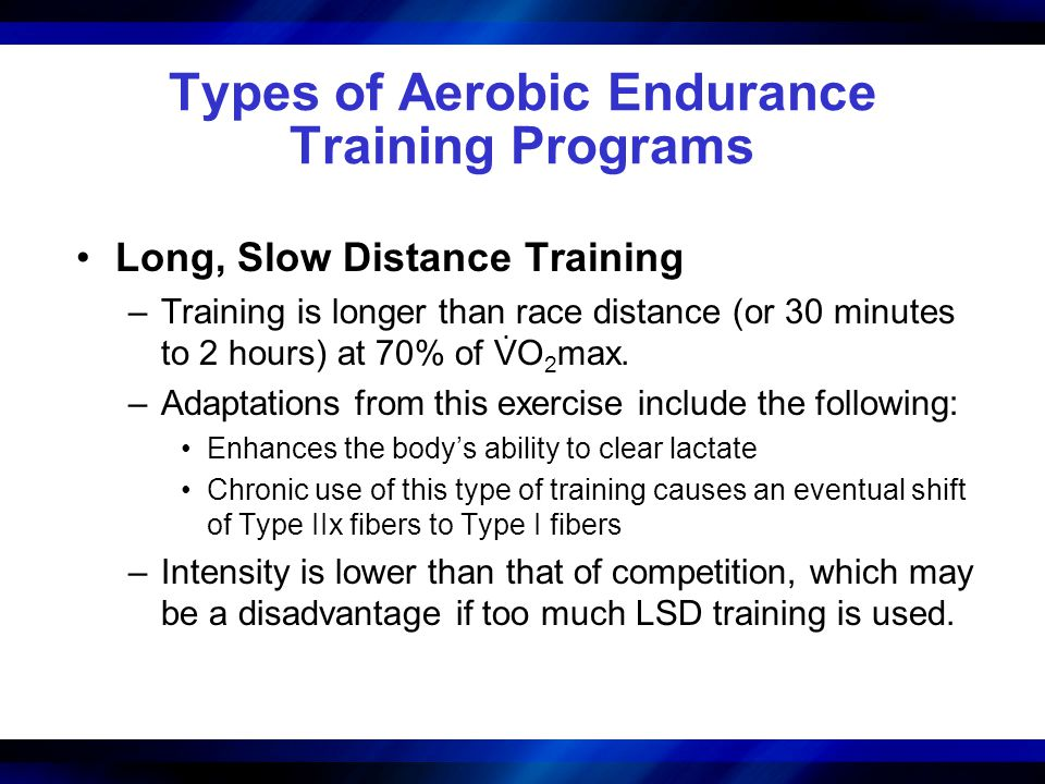 Types of Aerobic Endurance Training Programs