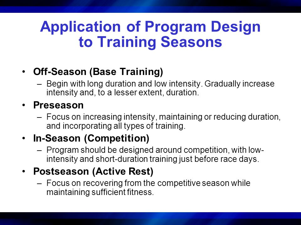 Application of Program Design to Training Seasons