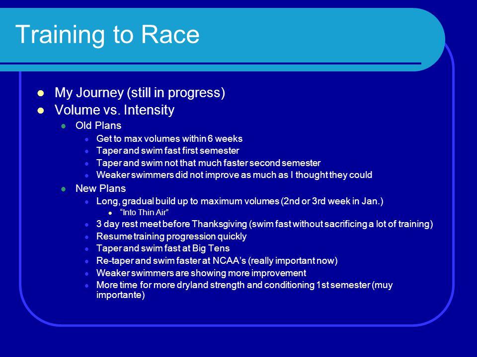 Training to Race My Journey (still in progress) Volume vs. Intensity