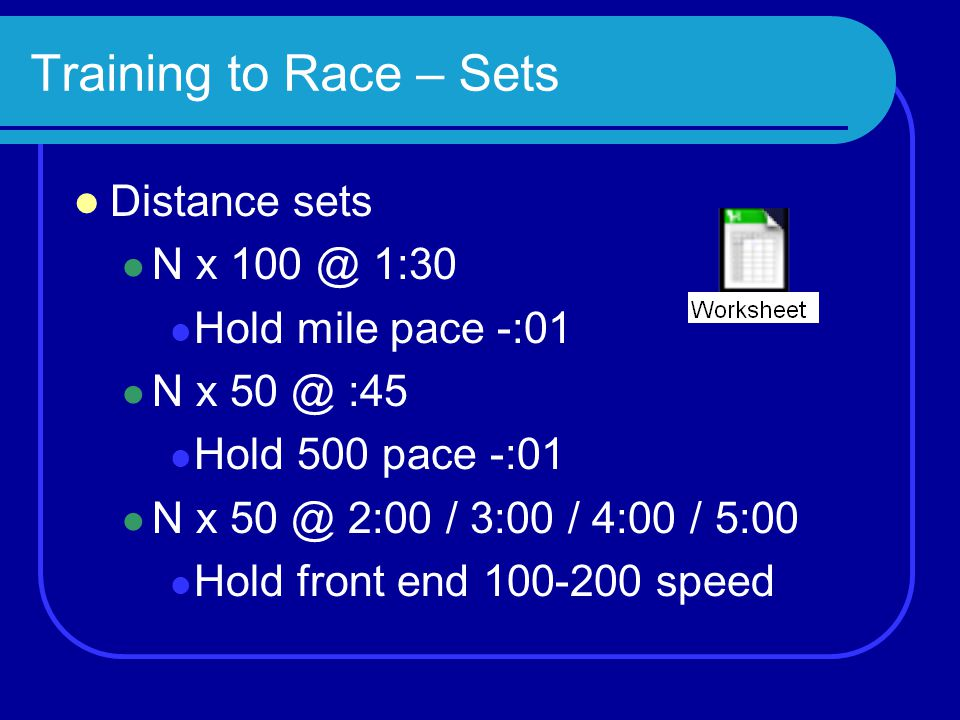 Training to Race – Sets Distance sets N x 100 @ 1:30