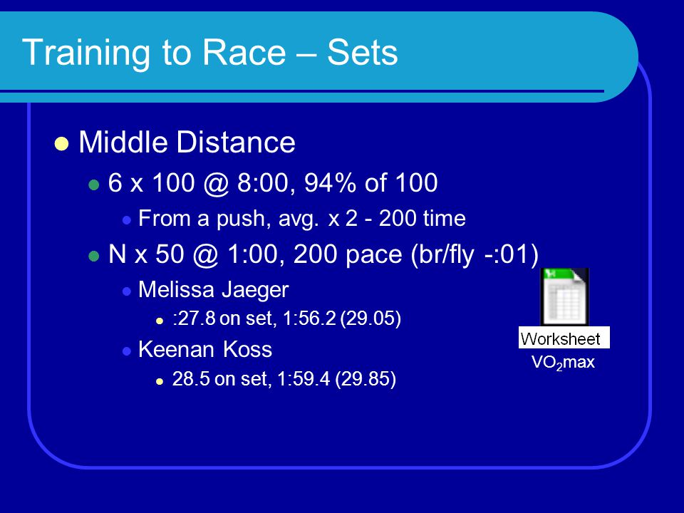 Training to Race – Sets Middle Distance 6 x 100 @ 8:00, 94% of 100