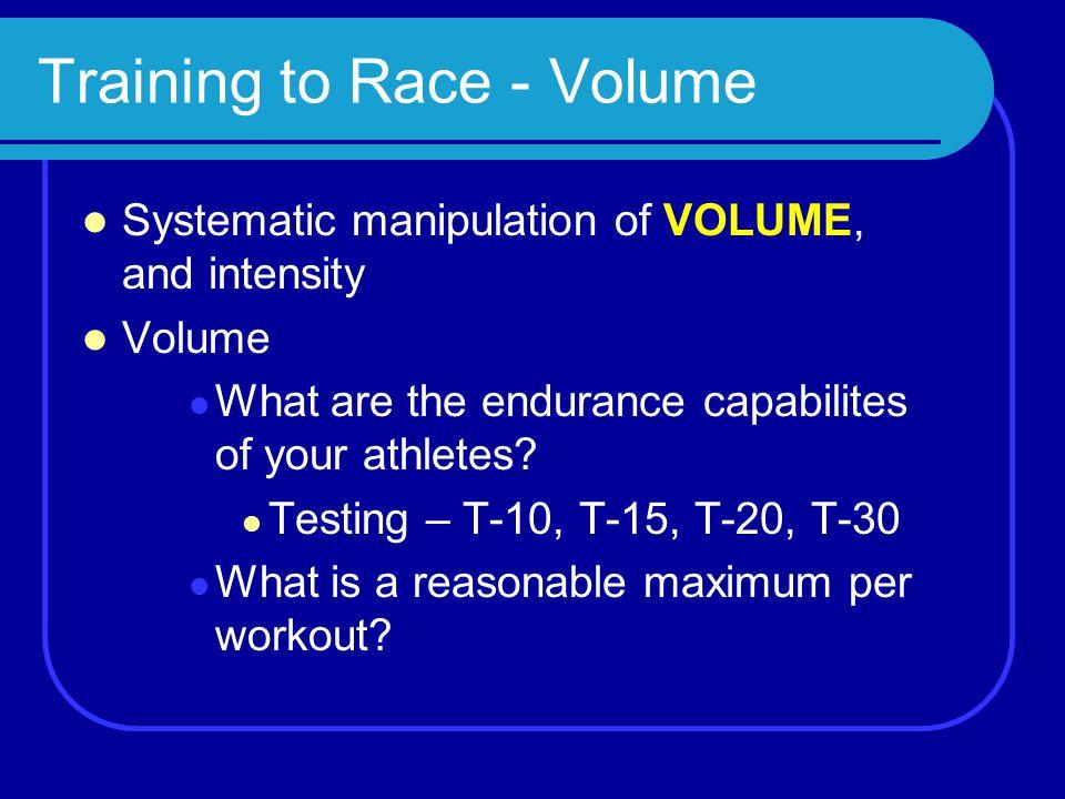Training to Race - Volume