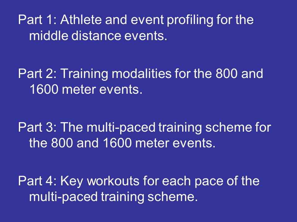 Part 1: Athlete and event profiling for the middle distance events.