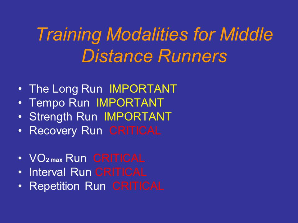 Training Modalities for Middle Distance Runners
