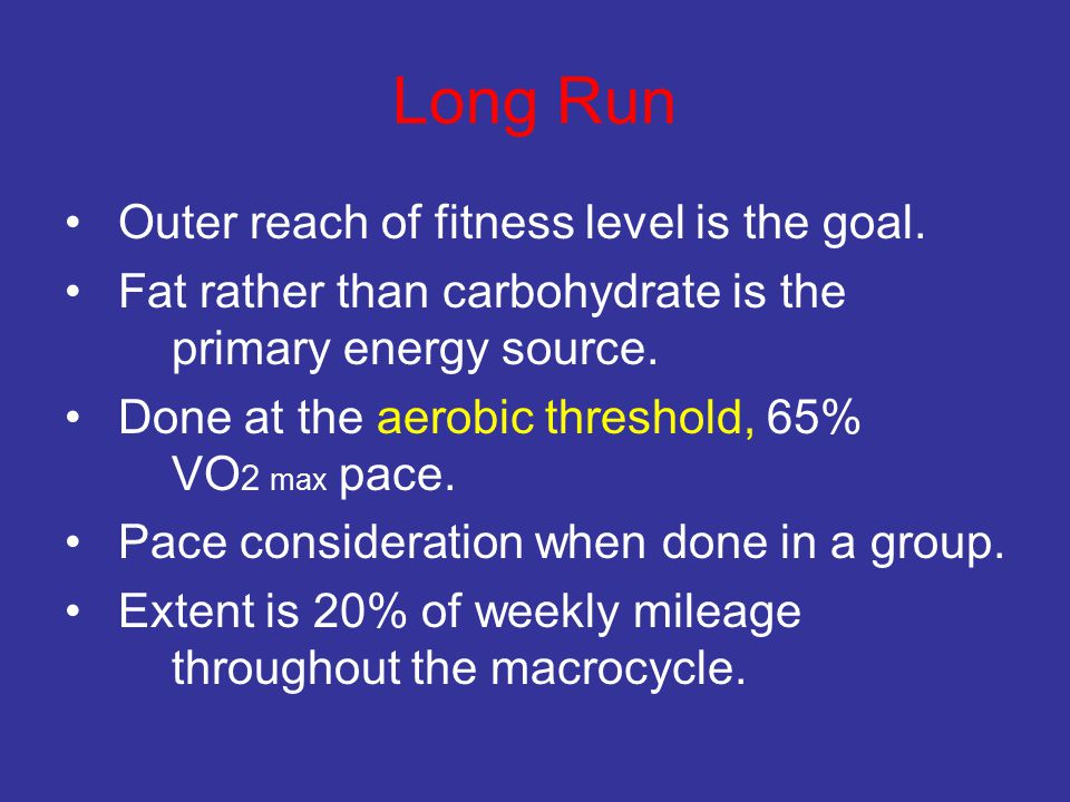 Long Run Outer reach of fitness level is the goal.