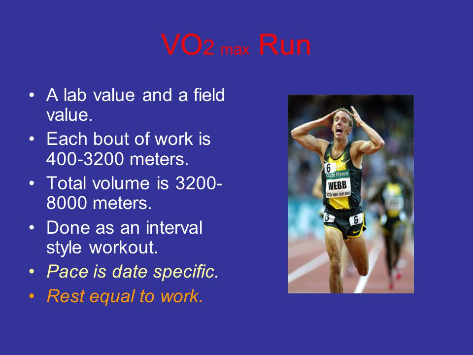 VO2 max Run A lab value and a field value.