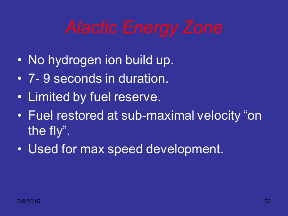 Alactic Energy Zone No hydrogen ion build up.