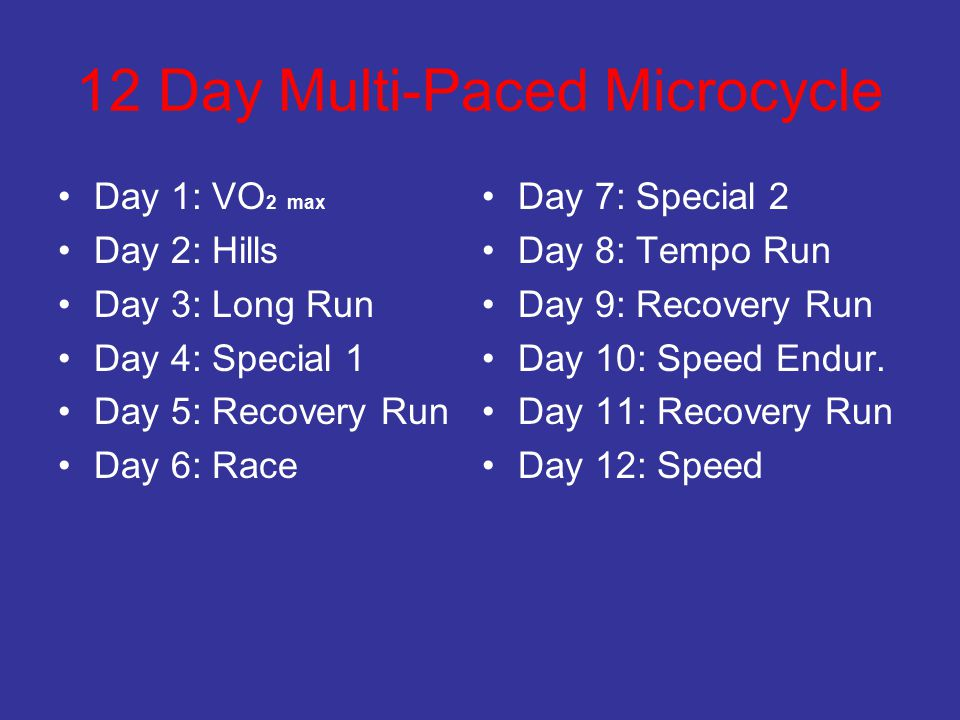 12 Day Multi-Paced Microcycle