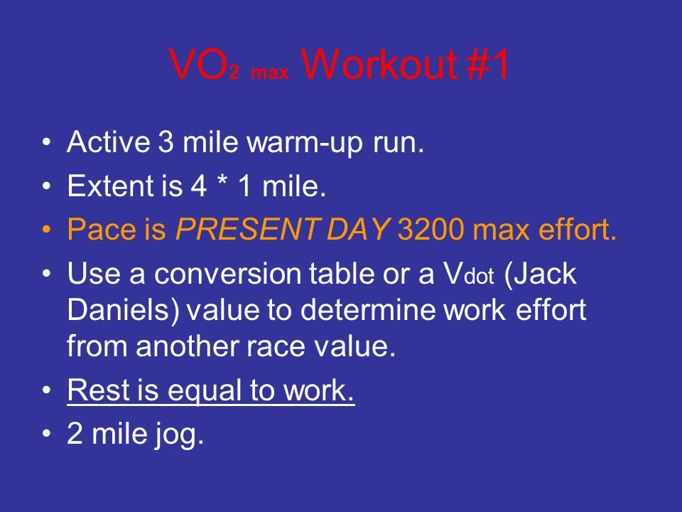 VO2 max Workout #1 Active 3 mile warm-up run. Extent is 4 * 1 mile.