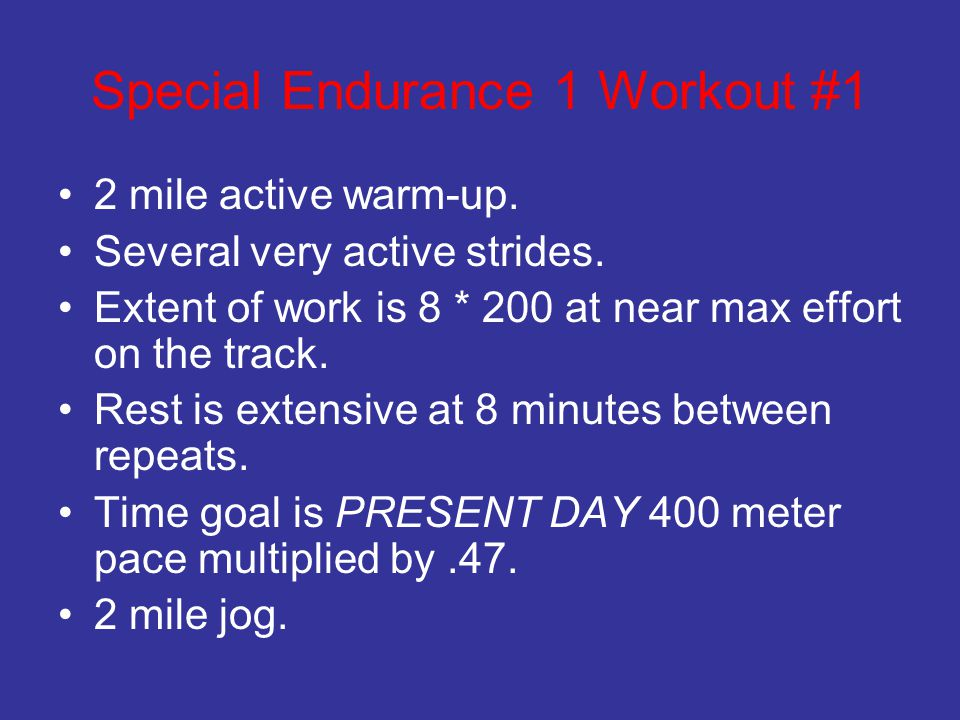 Special Endurance 1 Workout #1