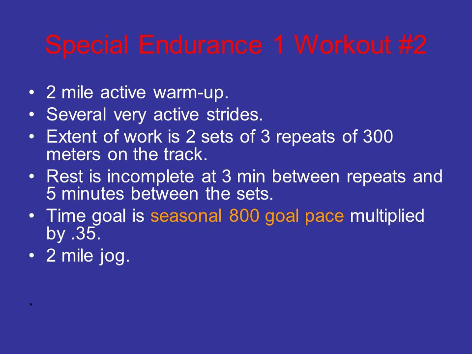 Special Endurance 1 Workout #2
