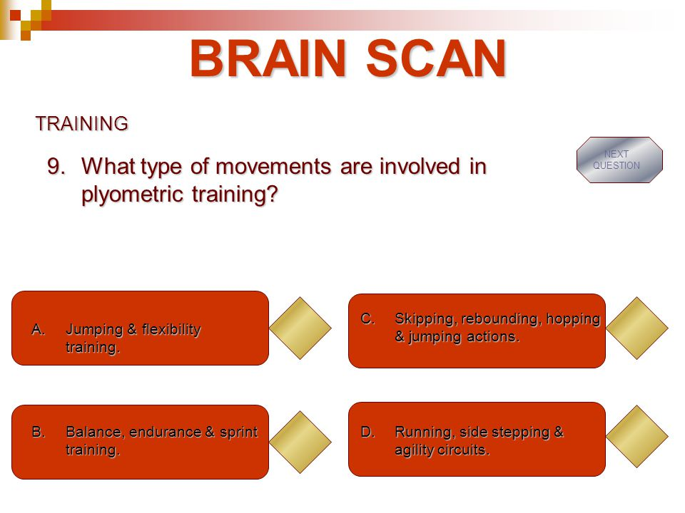 BRAIN SCAN What type of movements are involved in plyometric training