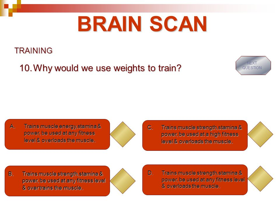 BRAIN SCAN Why would we use weights to train TRAINING