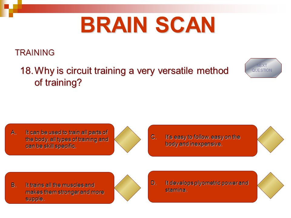 BRAIN SCAN TRAINING. Why is circuit training a very versatile method of training NEXT QUESTION.