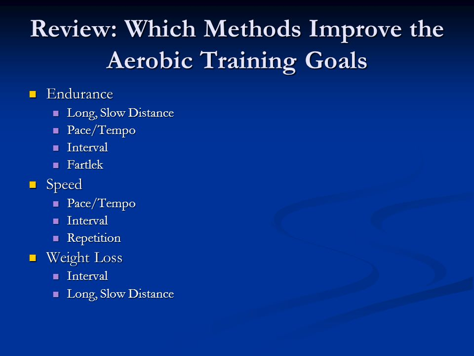 Review: Which Methods Improve the Aerobic Training Goals