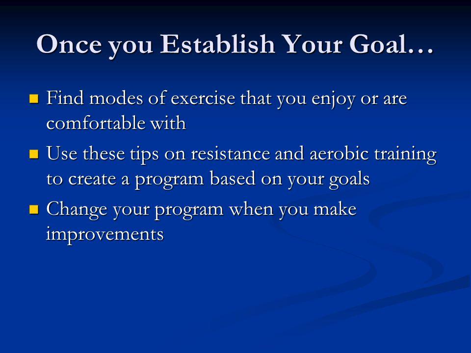 Once you Establish Your Goal…