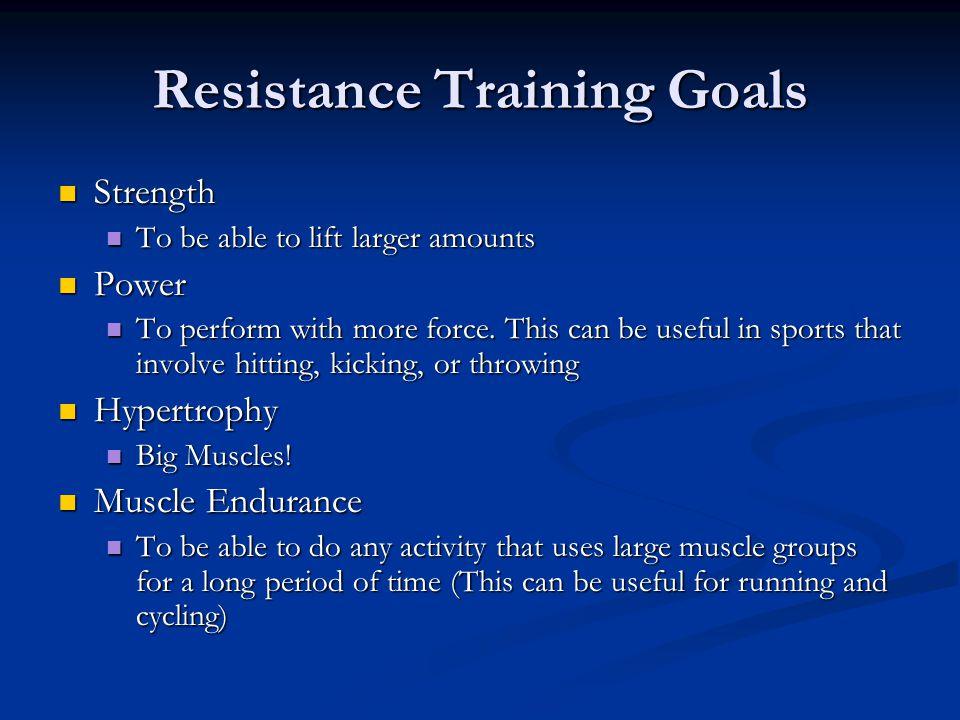 Resistance Training Goals