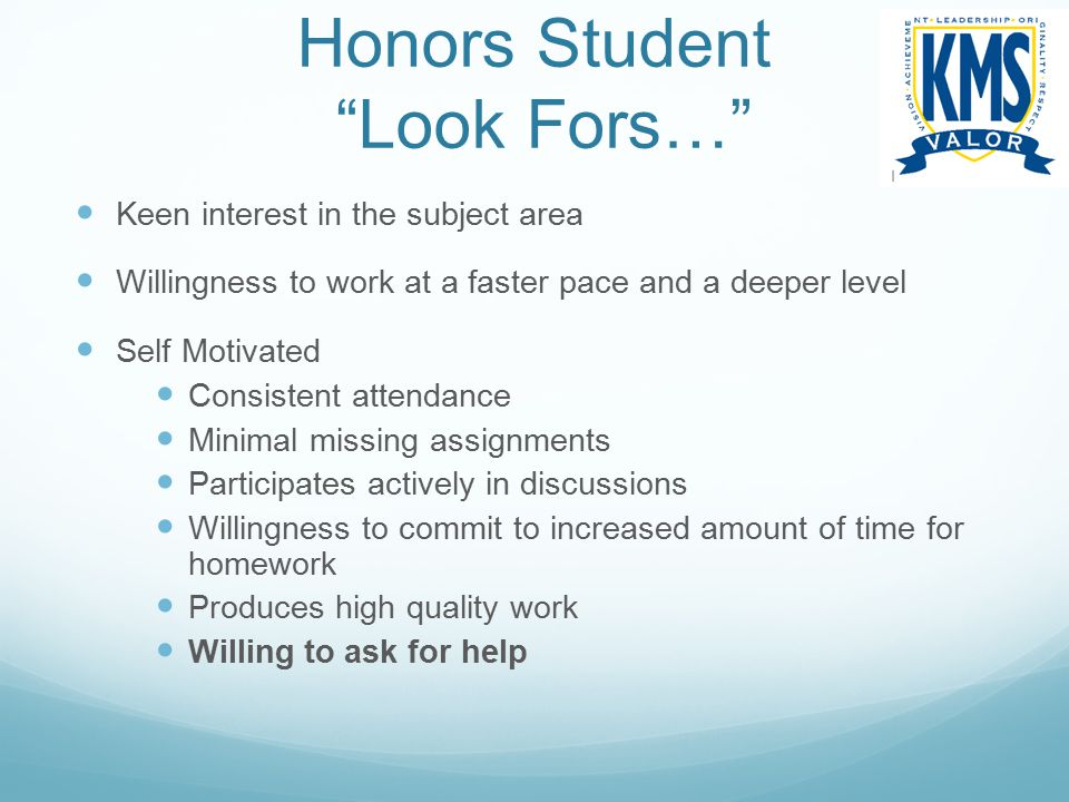 Honors Student Look Fors…