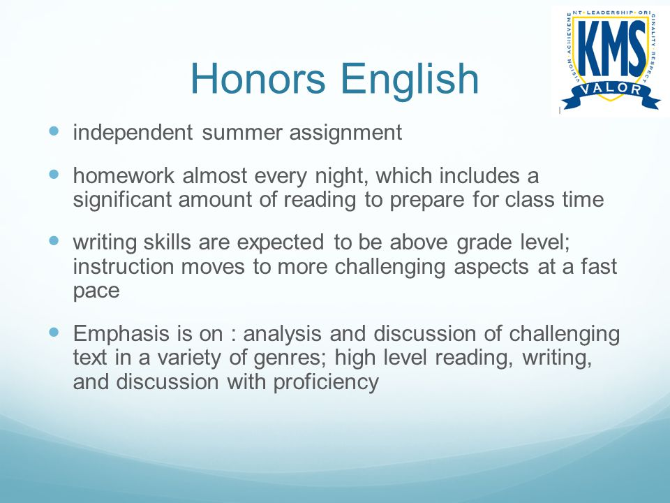 Honors English independent summer assignment