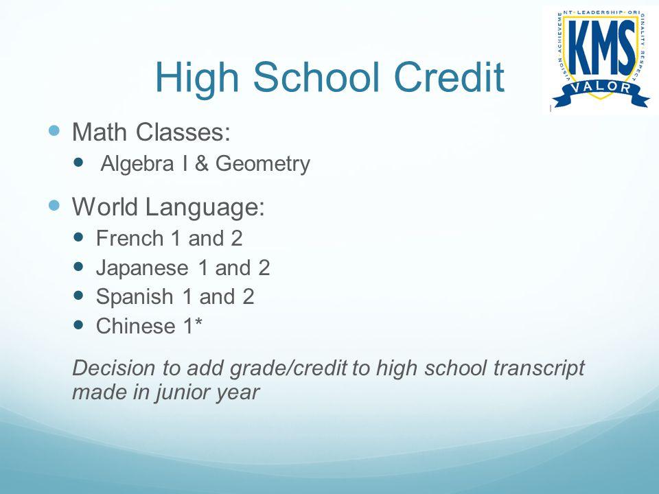 High School Credit Math Classes: World Language: Algebra I & Geometry