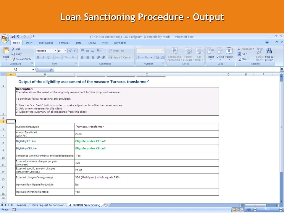 Loan Sanctioning Procedure - Output