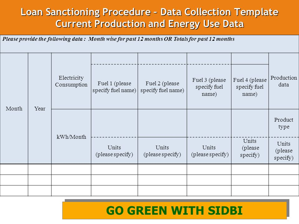 Loan Sanctioning Procedure – Data Collection Template Current Production and Energy Use Data