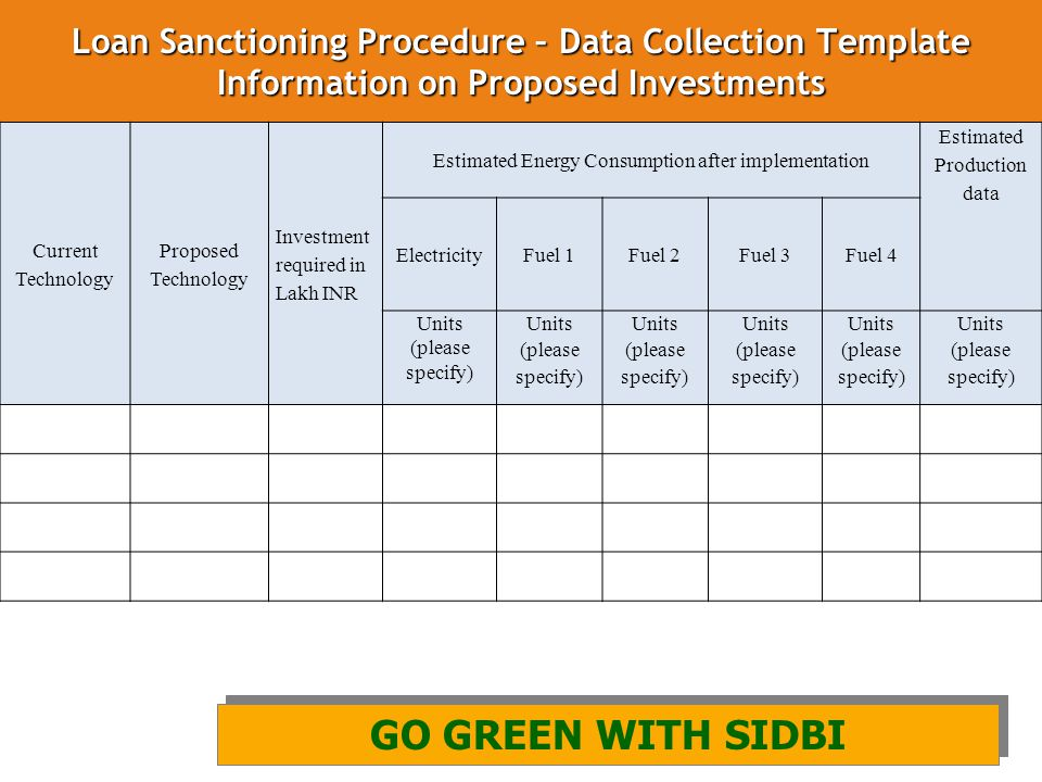Loan Sanctioning Procedure – Data Collection Template Information on Proposed Investments