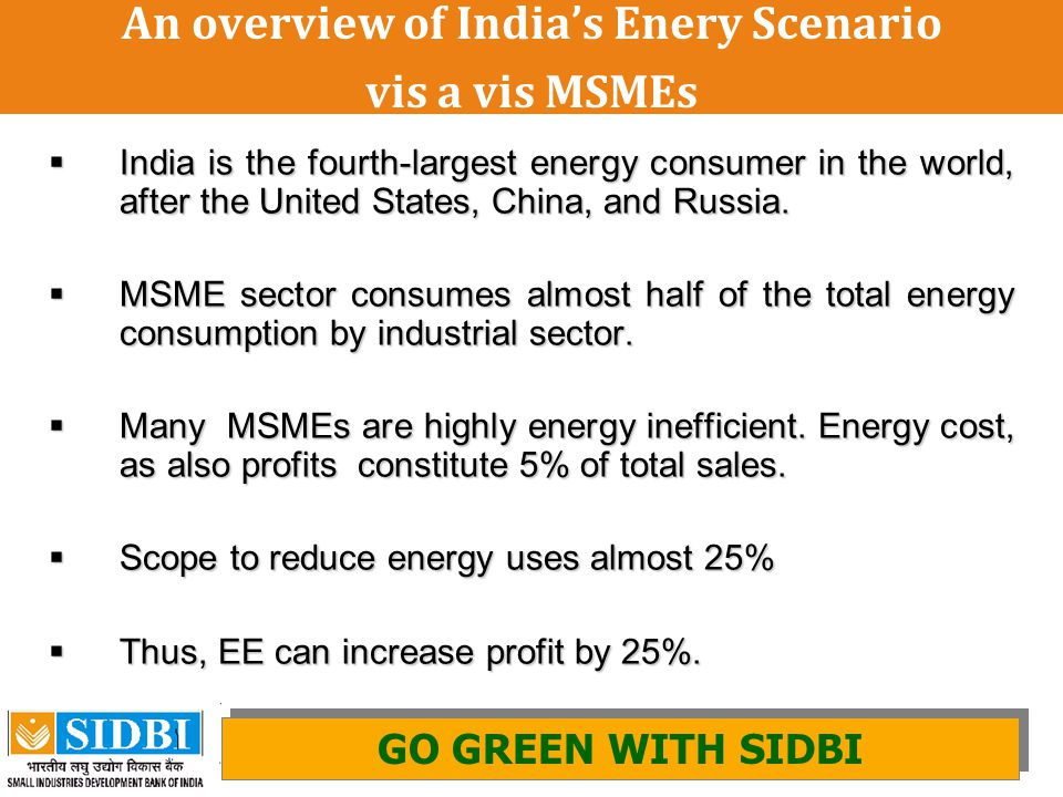 An overview of India's Enery Scenario vis a vis MSMEs