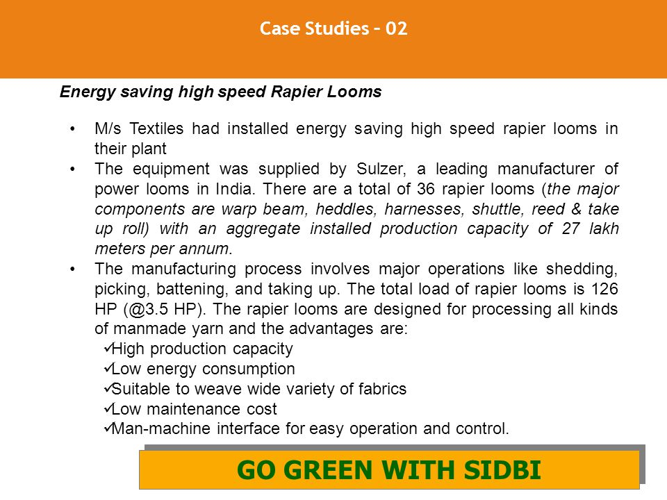 GO GREEN WITH SIDBI Case Studies – 02