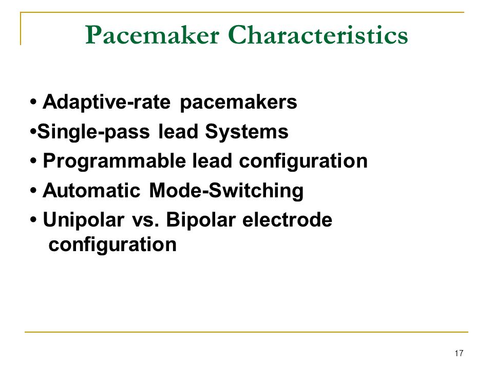 Pacemaker Characteristics