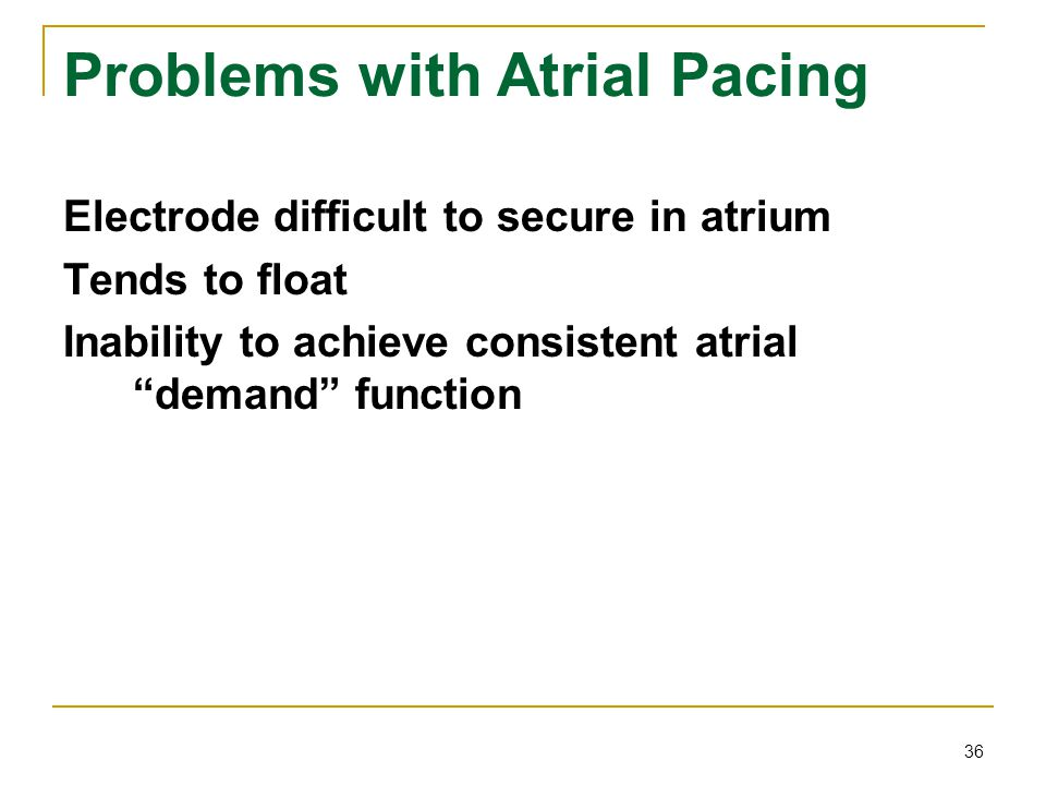Problems with Atrial Pacing