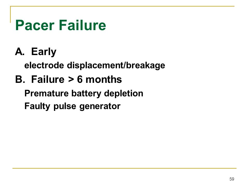 Pacer Failure A. Early B. Failure > 6 months