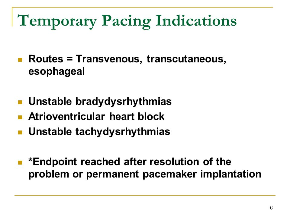 Temporary Pacing Indications