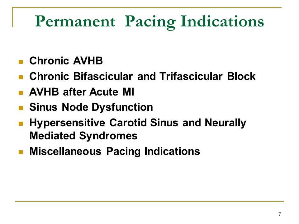 Permanent Pacing Indications