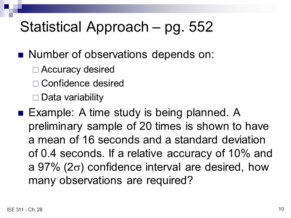 Statistical Approach – pg. 552