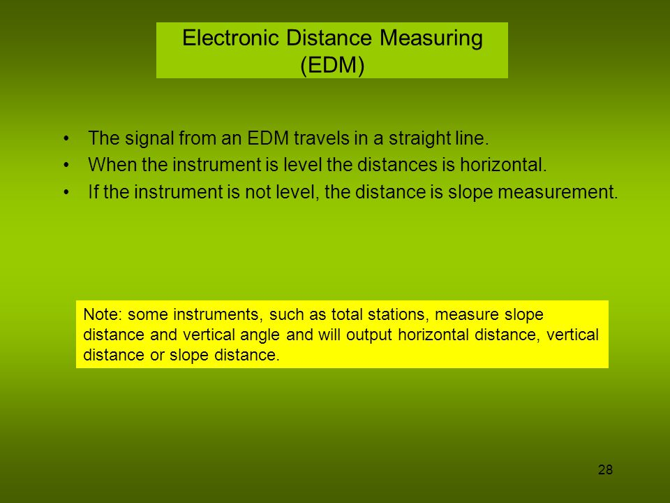 Electronic Distance Measuring (EDM)