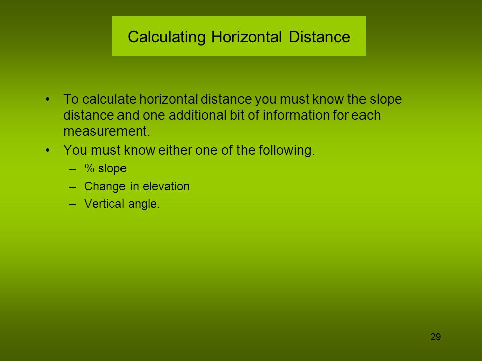 Calculating Horizontal Distance