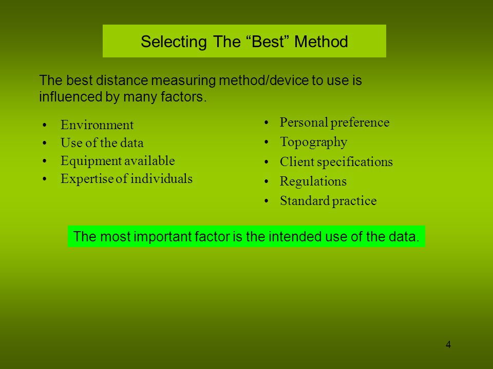 Selecting The Best Method